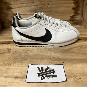 Nike Cortez leather low top white black sneakers